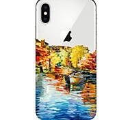 Недорогие -Кейс для Назначение Apple iPhone X iPhone 8 Ультратонкий Прозрачный С узором Кейс на заднюю панель Вид на город Мягкий ТПУ для iPhone X