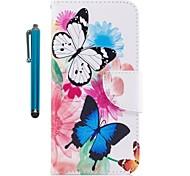 Недорогие -Кейс для Назначение Apple iPhone X iPhone 8 Plus Бумажник для карт Кошелек со стендом Флип Магнитный Чехол Бабочка Твердый Кожа PU для
