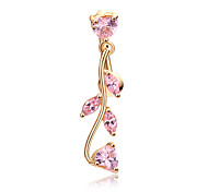 cheap -Heart Cubic Zirconia Zircon Gold Plated Navel Ring / Belly Piercing - Women's Gold Blue Pink Gold/Pink Gothic Leaf Heart Body Jewelry For