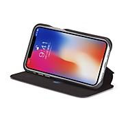 Недорогие -Кейс для Назначение Apple iPhone X Бумажник для карт Защита от удара Флип Чехол Сплошной цвет Твердый Настоящая кожа для iPhone X iPhone