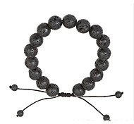 cheap -Men's Women's Chain Bracelet Volcanic Stone Simple Natural Fashion Cord Stone Circle Jewelry Gift Daily Costume Jewelry Black