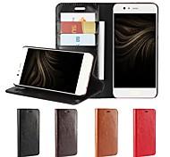 Недорогие -Кейс для Назначение Huawei P10 Plus P10 Lite Бумажник для карт Кошелек Защита от удара со стендом Флип Чехол Сплошной цвет Твердый
