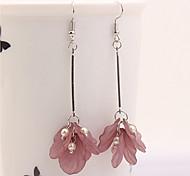 cheap -Women's Floral Imitation Pearl Zircon Drop Earrings - Floral Fashion European White Green Pink Dark Purple Flower Earrings For Party