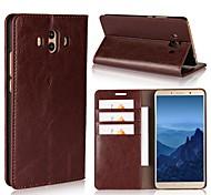 abordables -Coque Pour Huawei Mate 10 pro Mate 10 lite Porte Carte Portefeuille Avec Support Clapet Coque Intégrale Couleur unie Dur Cuir véritable