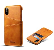 cheap -Case For Apple iPhone X iPhone 8 Plus Card Holder Back Cover Solid Colored Hard Genuine Leather for iPhone X iPhone 8 Plus iPhone 8