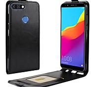 Недорогие -Кейс для Назначение Huawei Y9 (2018)(Enjoy 8 Plus) Y7 Prime (2018) Бумажник для карт Флип Чехол Однотонный Твердый Кожа PU для Y9