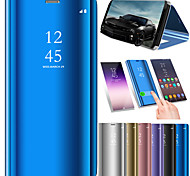 cheap -Case For Samsung Galaxy A8 2018 A8 Plus 2018 Shockproof Mirror Flip Auto Sleep/Wake Up Full Body Cases Solid Colored Hard PU Leather for