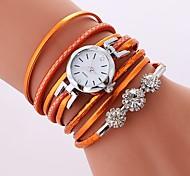 Недорогие -Жен. Кварцевый Часы-браслет Китайский Имитация Алмазный Повседневные часы PU Группа На каждый день Богемные Черный Белый Синий Оранжевый