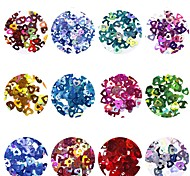 cheap -12pcs Nail Glitter Sequins Glitters Heart shape Nail Art Design