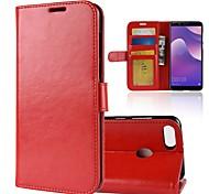 Недорогие -Кейс для Назначение Huawei Y9 (2018)(Enjoy 8 Plus) Y7 Prime (2018) Бумажник для карт Кошелек Флип Магнитный Чехол Однотонный Твердый Кожа