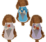 Недорогие -Собаки Коты Жилет Одежда для собак Цветы Мороженное Лиловый Розовый Хлопок / полиэфир Костюм Для домашних животных Мужской С цветами На