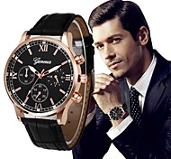 cheap -Men's Dress Watch Chinese Chronograph / Large Dial PU Band Luxury / Vintage Black / Silver