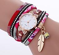 cheap -Women's Quartz Fashion Watch Chinese Imitation Diamond PU Band Casual Fashion Black White Blue Red Brown Pink