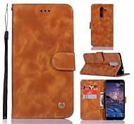 Недорогие -Кейс для Назначение Nokia Nokia 7 Plus Кошелек / Бумажник для карт / со стендом Чехол Однотонный Твердый Кожа PU для Nokia 7 Plus