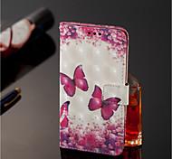 Недорогие -Кейс для Назначение Nokia Nokia 7 Plus / Nokia 6 2018 Кошелек / Бумажник для карт / со стендом Чехол Бабочка Твердый Кожа PU для Nokia 7