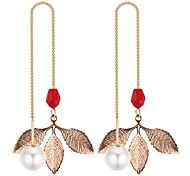 cheap -Women's Long Drop Earrings - Imitation Pearl Leaf Fashion Black / Red / Green For Going out / Birthday