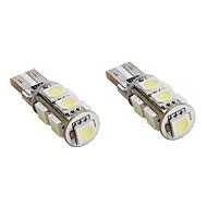 preiswerte -t10 1.5W 9x5050 SMD weißes Licht LED-Lampe canbus für Auto Signalleuchten (2-pack, DC 12V)