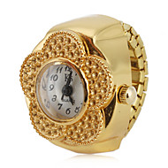 cheap Ring Watches-Women's Ring Watch Japanese Quartz Casual Watch Alloy Band Analog Flower Fashion Gold