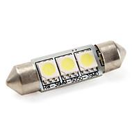 36mm 1W 3x5050 SMD 60LM White Light LED Bulb for Car Lamps (DC 12V)