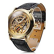 お買い得  -WINNER 男性用 リストウォッチ / 機械式時計 透かし加工 PU バンド ブラック / 自動巻き