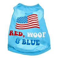 お買い得  -犬 Tシャツ 犬用ウェア 国旗 アメリカ/ USA コットン コスチューム ペット用 男性用 女性用
