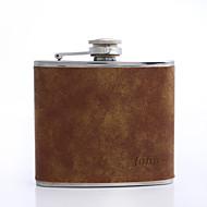 abordables Copas y Vasos Personalizados-regalo del día de padre personalizado marrón 5 oz frasco de cuero de la PU