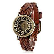 cheap Bohemian Watches-Women's Bracelet Watch Quartz Casual Watch PU Band Analog Flower Vintage Bohemian Black / Blue / Red - Blue Light Brown Dark Brown One Year Battery Life / ETA 377A