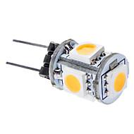 0.5W G4 LED Corn Lights T 5 leds SMD 5050 55-65lm Warm White 3000K DC 12
