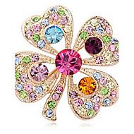 billige -kvinders vintage farverige blomst rhinstone broche n296