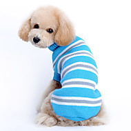 Cat Dog Sweater Dog Clothes Woolen Winter Spring/Fall Casual/Daily Keep Warm Stripe Blue Costume For Pets