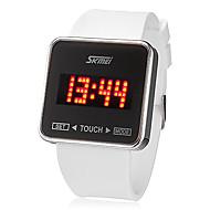 Недорогие Мужские часы-SKMEI Муж. Наручные часы Цифровой Сенсорный экран Календарь LED силиконовый Группа Кулоны Черный Белый