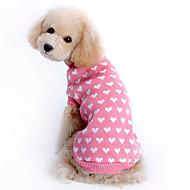 고양이 강아지 스웨터 강아지 의류 따뜻함 유지 하트 핑크 코스츔 애완 동물