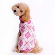 お買い得  -犬 セーター 犬用ウェア 格子柄 ブルー ピンク コスチューム ペット用
