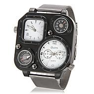 baratos -Homens Relógio Militar Quartzo Aço Inoxidável Prata Termómetro Bússula Dois Fusos Horários Analógico Branco Preto