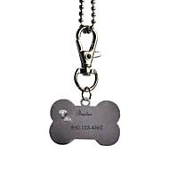 abordables Novedades Personalizadas-Personalizada Regalos de hueso Forma Rosa y Negro Nombre Id Pet Tag con la cadena para perros