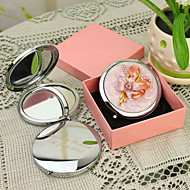 Personalized Gift Floral Style Pink Chrome Compact Mirror