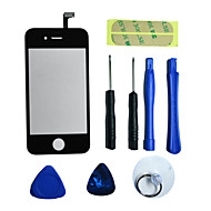 parte de reparo LCD frontal lente de vidro tela com adesivo 3m e ferramentas para iphone 4