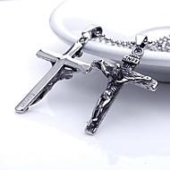 Aço inoxidável Jesus Cruz dos homens presente personalizado em forma de colar de pingente gravado jóias com 60 centímetros Cadeia