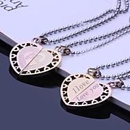 Casais presente personalizado de aço inoxidável Jóias Gravado Colar Amantes Pendant com 60 centímetros Cadeia