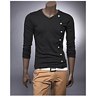 cheap -Men's Cotton T-shirt - Solid Colored / Long Sleeve