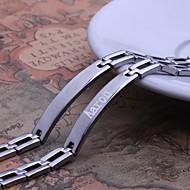 abordables Regalos Personalizados-Regalo personalizado simple Joyería Diseño los hombres de plata de acero inoxidable grabadas pulseras de identificación 0.8cm Ancho