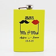 パーソナライズされた贈り物黄色の8オンスステンレス鋼のヒップフラスコ -  MR。夫妻。
