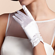 Недорогие Перчатки и рукавицы-Сатин До запястья Перчатка Свадебные перчатки С Оборки
