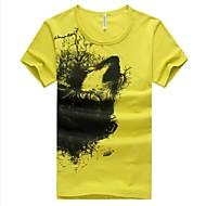 Summer Fashion em torno do pescoço T-shirt de manga curta dos homens