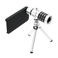 iPhone 4S用の三脚とズーム12倍望遠アルミ携帯レンズ