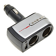 2-in-1 12V/24V DC Car  Double Power Adapter Socket Splitter