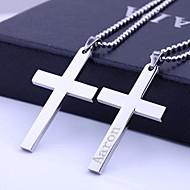Joyería personalizada Cruz Regalo Acero Inoxidable Grabado colgante, collar con cadena de 60cm
