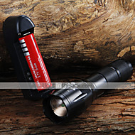 LED Flashlights / Torch Handheld Flashlights/Torch LED 1600 lm 3 Mode Cree XM-L T6 Adjustable Focus Zoomable for Camping/Hiking/Caving