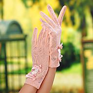 Недорогие Перчатки и рукавицы-Кружева До запястья Перчатка Свадебные перчатки / Вечерние перчатки / Рабочие перчатки С Бант