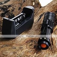 preiswerte Taschenlampen, Laternen & Lichter-CREE Q5 LED 7W 300LM 3-Mode Zoomable einstellbarer Fokus Mini-Taschenlampe + 2 * 14500 1200mAh Akkus + Ladegerät